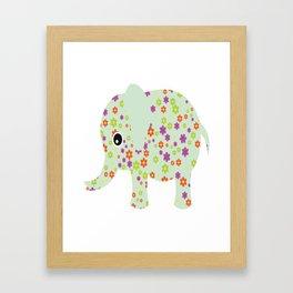 cute floral elephant Framed Art Print
