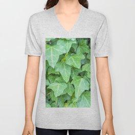 Pattern of green textured plants Unisex V-Neck
