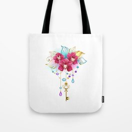Pink Orchid with Key Tote Bag
