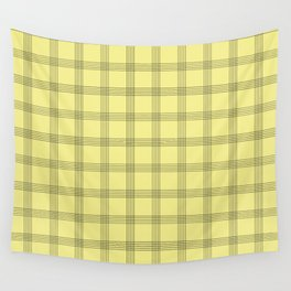 Black Grid on Pale Yellow Wall Tapestry
