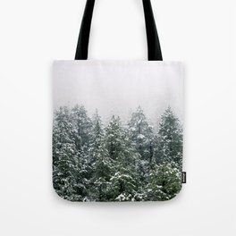 Snowy Pine trees Tote Bag