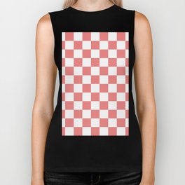 Checkered - White and Coral Pink Biker Tank