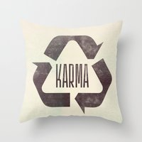 karma Throw Pillows featuring karma by manish mansinh