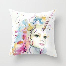 Unicorn Woman Throw Pillow
