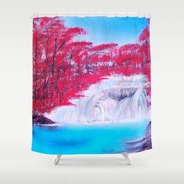 Crimson Cascade Shower Curtain