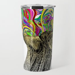 Bright neon pink yellow abstract anatomical skull Travel Mug
