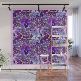 AWESOME GEOMETRIC LILAC PURPLE PANSIES GARDEN ART Wall Mural