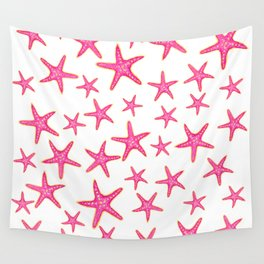 Summer pink neon watercolor gold starfish pattern Wall Tapestry