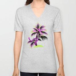 Snake Palms - Purple Unisex V-Neck