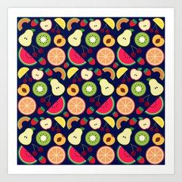 Fruit pattern vector illustration colorful Art Print