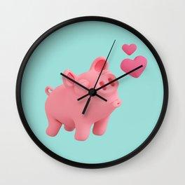 Rosa the Pig blow kisses Wall Clock