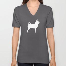 White Chihuahua Silhouette Unisex V-Neck