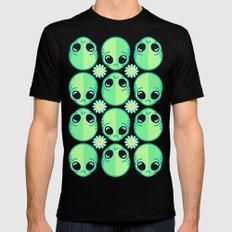 Sad Alien and Daisy Nineties Grunge Pattern MEDIUM Black Mens Fitted Tee
