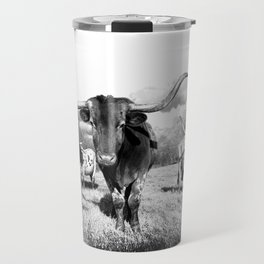 Longhorn Cattle Black and White Highland Cows  Travel Mug