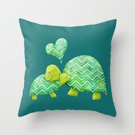 Sweet Turtle Hugs with Heart in Teal and Lime Green Throw Pillow