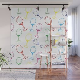 Print with wine glasses. Drawn colored wine glasses on white. Multicolor Wall Mural