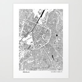 map of bruxelles Art Print