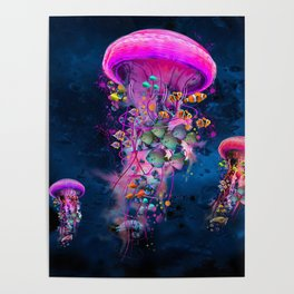 Floating Electric Jellyfish Worlds Poster