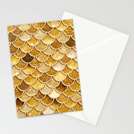 Gold Trendy Glitter Mermaid Scales Stationery Cards