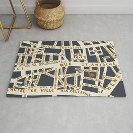PARIS MAP GREY GOLD Rug