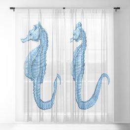 Seahorse nautical blue watercolor Sheer Curtain