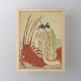 Lovers and a literate octopus by Ippitsusai Buncho Framed Mini Art Print
