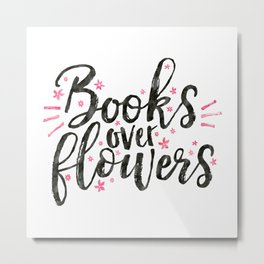 Books over flowers Metal Print