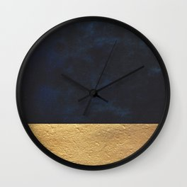 Color Blocked Gold & Cobalt Wall Clock