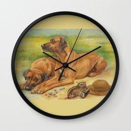 Rhodesian Ridgeback Dog portrait in scenic landscape Painting Wall Clock