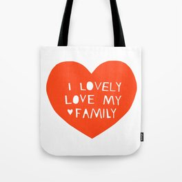 Lovely Love My Family in Red Tote Bag
