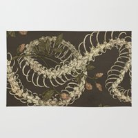 snake Area & Throw Rugs featuring Snake Skeleton by Jessica Roux