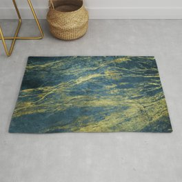 Blue Marble With Stardust Trails of Gold Veins Rug