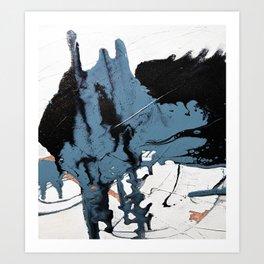 Black Diamond: A minimal, abstract mixed-media piece in black and blue by Alyssa Hamilton Art Art Print