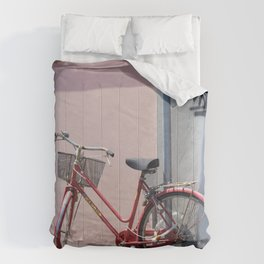 RED COMMUTER BIKE ON ROAD Comforters