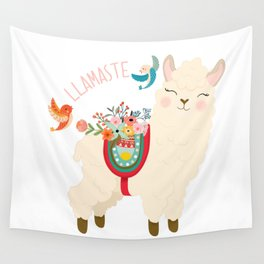 Llamaste - When A Llama Offers You A Respectful Greeting Wall Tapestry
