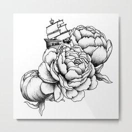 Sailing a Sea of Peonies Metal Print