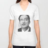 salvador dali V-neck T-shirts featuring Salvador Dali by Earl of Grey