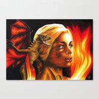 mother of dragons Canvas Prints featuring The Mother of Dragons by Brigitta