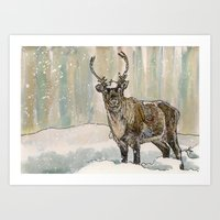 reindeer Art Prints featuring Reindeer by Meredith Mackworth-Praed