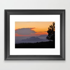 Mountains. Sunset from the forest. Framed Art Print