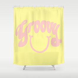 Groovy Smile // Fun Retro 70s Hippie Vibes Lemonade Yellow Grapefruit Pink Lettering Typography Art Shower Curtain