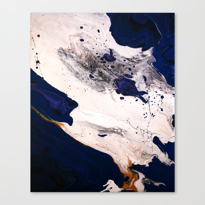 Indigo Gold Black Blue And White Fluid Acrylic Abstract Painting Canvas Print By Hollycromer