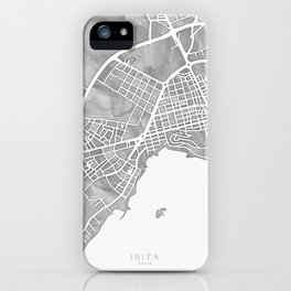 Grayscale watercolor map of Ibiza, Spain iPhone Case