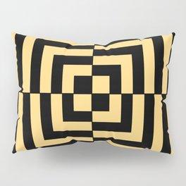 Graphic Geometric Pattern Minimal 2 Tone Illusion Squares (Golden Yellow & Black) Pillow Sham