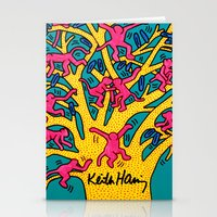 keith haring Stationery Cards featuring Keith Haring: The Tree of Monkeys by cvrcak