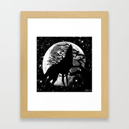WOLF AND MOON IN BLACK AND WHITE Framed Art Print