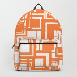 Mid Century Modern Muted Orange 1970s Style Retro Geometric Squares Backpack