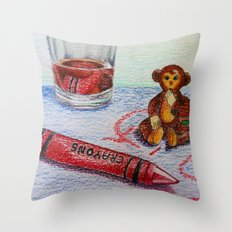 Crayon Love My Monkey is up to Something Throw Pillow
