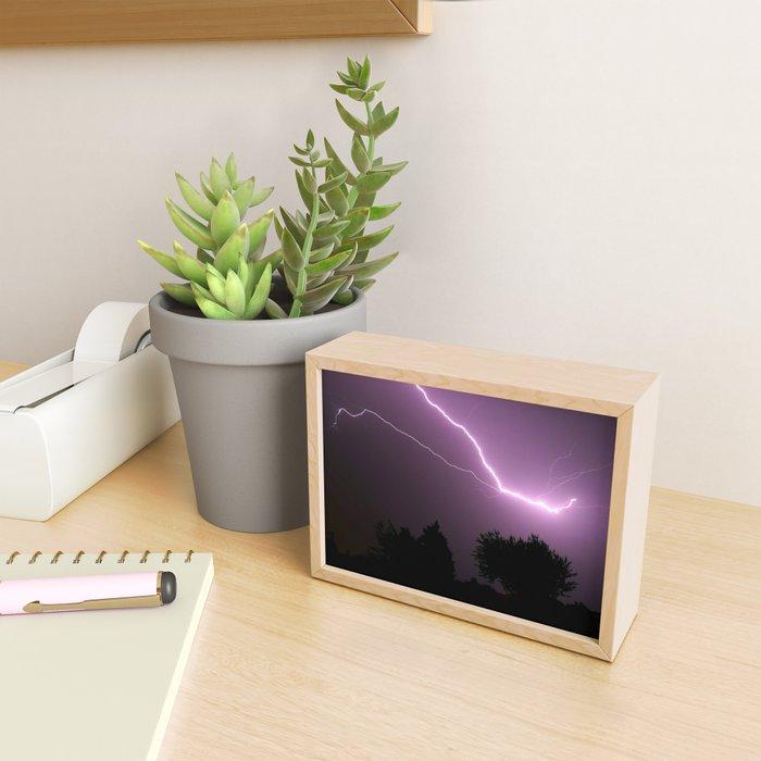 Purple Lightning Night Sky Framed Mini Art Print