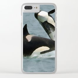 Playful Orcas Clear iPhone Case